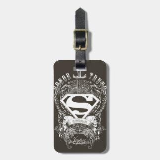 Superhombre de la verdad y de la justicia del hono etiquetas de maletas