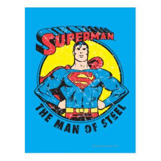 Superhombre el hombre de acero tarjeta postal