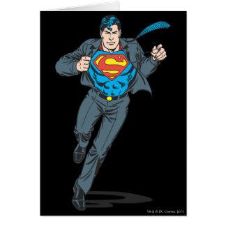 Superhombre en atuendo del negocio tarjeta de felicitación