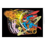Superhombre en espacio felicitación