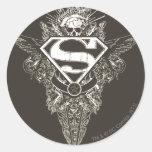 Superhombre, estrella y cráneo etiqueta