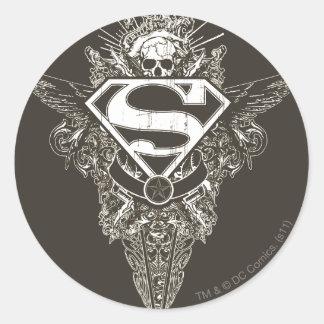 Superhombre, estrella y cráneo pegatina redonda