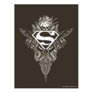 Superhombre, estrella y cráneo tarjetas postales