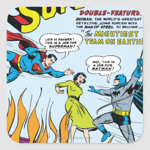 Superhombre (función doble con Batman) Pegatina Cuadrada