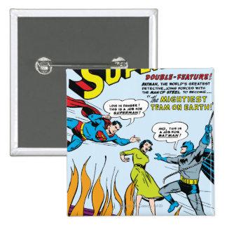 Superhombre (función doble con Batman) Pin Cuadrado