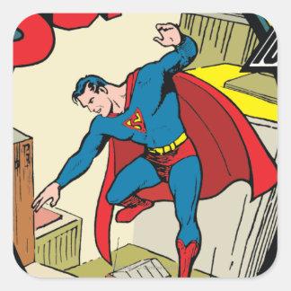 Superhombre (historia completa) pegatina cuadrada