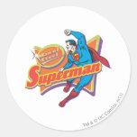 Superhombre - hombre de acero pegatina redonda