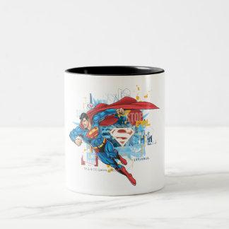 Superhombre - pare el mal taza de café de dos colores