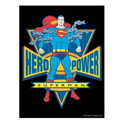 Superhombre - poder del héroe postales