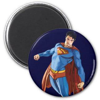 Superhombre que mira abajo imán redondo 5 cm