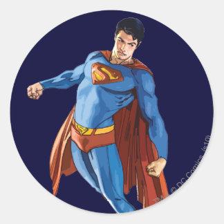 Superhombre que mira abajo pegatina redonda