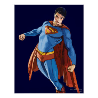 Superhombre que mira abajo póster
