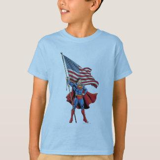 Superhombre que sostiene la bandera de los playera
