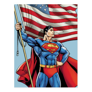 Superhombre que sostiene la bandera de los postales