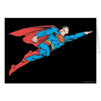 Superhombre que vuela a la derecha tarjeta de felicitación