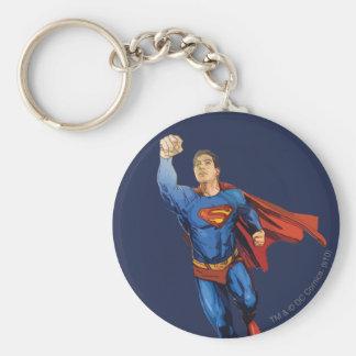 Superhombre que vuela a la izquierda llaveros personalizados