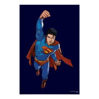 Superhombre que vuela adelante póster