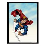 Superhombre rápido a través del aire postales