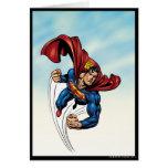 Superhombre rápido a través del aire tarjeta de felicitación
