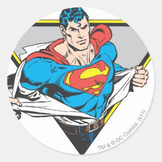 Superhombre revelador pegatina redonda