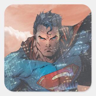 Superhombre - rojo pegatina cuadrada