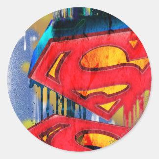 Superhombre Spraypaint urbano Pegatinas Redondas