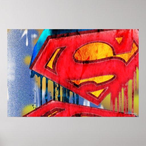 Superhombre Spraypaint urbano Póster