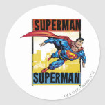 Superhombre, superhombre pegatina redonda