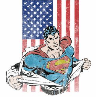 Superhombre y bandera de los E.E.U.U. Fotoescultura Vertical