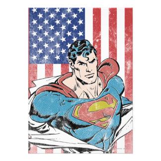 Superhombre y bandera de los E.E.U.U. Invitación Personalizada