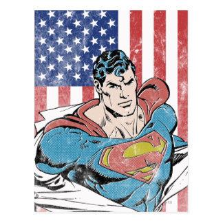 Superhombre y bandera de los E.E.U.U. Postales