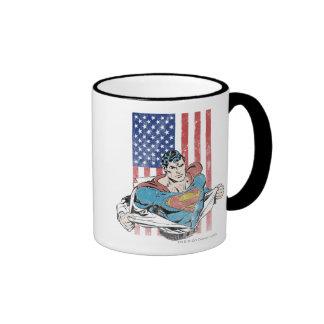 Superhombre y bandera de los E.E.U.U. Tazas