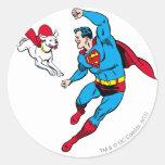 Superhombre y Krypto 2 Pegatinas Redondas