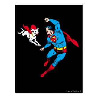 Superhombre y Krypto 2 Postal