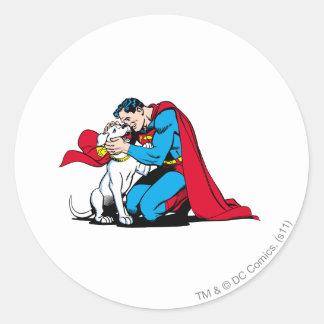 Superhombre y Krypto Pegatina Redonda