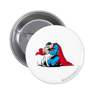 Superhombre y Krypto Pin Redondo De 2 Pulgadas