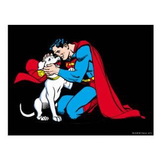 Superhombre y Krypto Tarjeta Postal