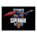 Superhombre y logotipo confinados tarjetón