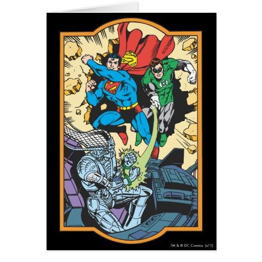 Superhombre y lucha verde Brainiac de la linterna Tarjeta De Felicitación