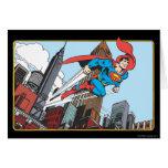 Superhombre y rascacielos tarjetas
