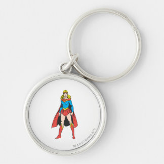 Superigirl Stands Silver-Colored Round Keychain