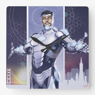 Superior Iron Man And City Square Wall Clock