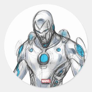 Superior Iron Man Sketch Classic Round Sticker