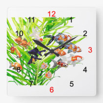 Superior product of goldfish square wall clock