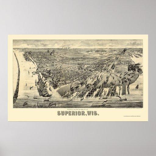 Superior, WI Panoramic Map - 1890 Poster