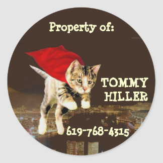 Superkitty Personalized Round Sticker