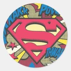 Superman 66 Classic Round Sticker at Zazzle