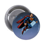 Superman against the night sky 2 inch round button