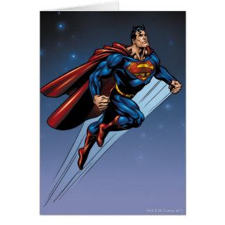 Superman against the night sky card