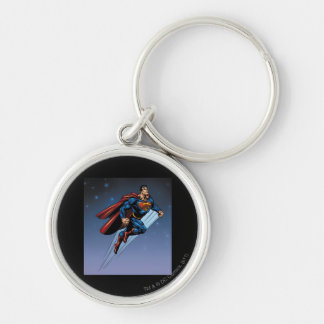 Superman against the night sky key chains